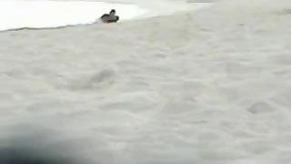 Horny amateur couple having wild fuckfest on the beach early morning