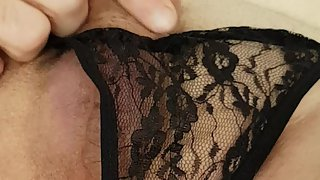 German crossdresser in dark-hued string masturbation