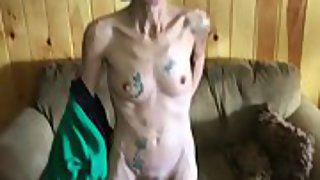 Skinny tattooed granny wants her cooter seen all over the world