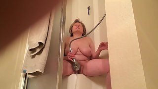 Multiple orgasms in the shower for marie at age 57