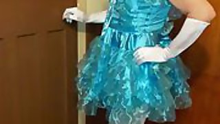 Sissy faggot exposure in a blue sissy dress