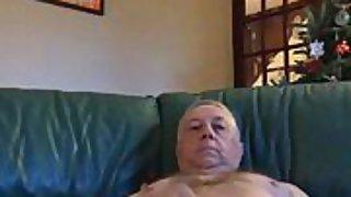 Nude mature male masterbating at home