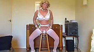 Chastity sissy candice rides man rod