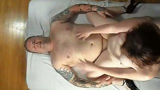 Redhead cuckold view from above watching wife tear up some guy