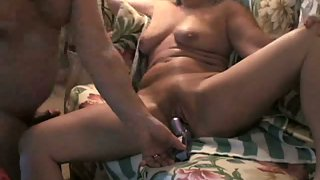 Mature giving oral fuckfest while having pussy drained with vibrator