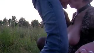 Outdoor blowjob and deepthroat from massive tit wifey