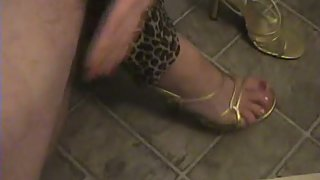 Footjob and blowjob to fresh neighbour she is a highly nasty blonde