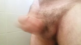 Solo bathroom session with cumshot at work