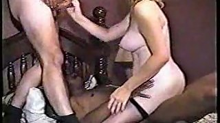 Mixed-race threesome gang sex wifey gets creampie climax