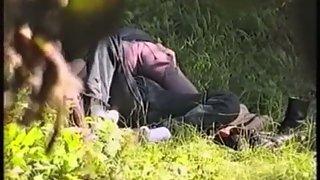 Voyeur camera secret porn recording couple cowgirl fuck-a-thon on public land