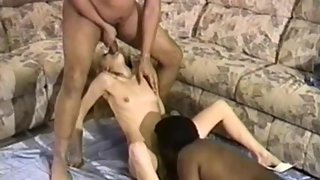 Blonde white lady making sex with two hung blacks with thick chisels