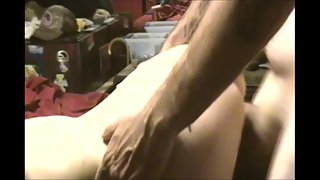 Getting boned while deepthroating a dildo
