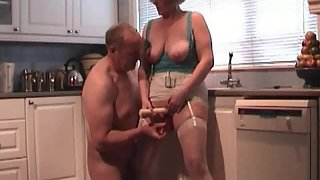Eating out my wife puss in the kitchen heating her up for some inspecting with toys