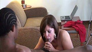 I enjoy to suck and ride a big black cock mature cougar with dark-hued man