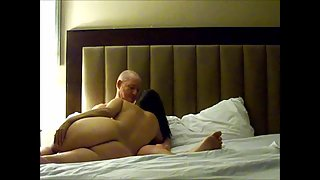Cuckold cougar with huge melons sucking and porking a new man sausage and getting covered in cum