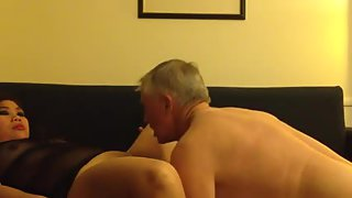 Asian bbw wifey enjoying oral sensation and deep-throating on her aged milky husband's cock