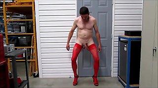 Bitch training pantyhose stilettos ball weights dog neck corset jerkoff