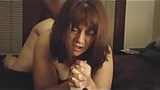 Bent over and being nailed firm in her labia right in front of me