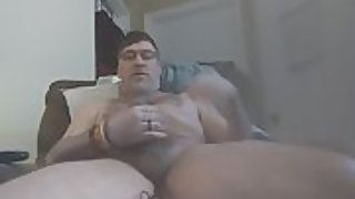 Danrun daddy oozes his cummy mess on his stomach