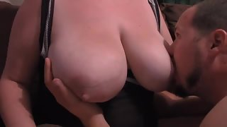 Me sucking on my wifes meaty tits they are a handful