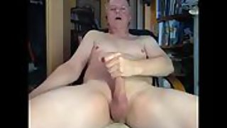 Mature guy stroking his man meat on cam then ate his jizz