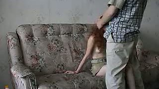 Youthfull lady intercourse with a round older man on the sofa for money