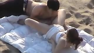 Immense tit dark-haired gets munched out and fucked at the beach