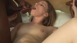 Couple of bulls pounding a cockslut wife providing her what she craves