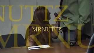 Office slut getting pounded by black manstick over her desk