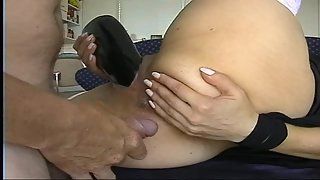 Dick in bootie really yam-sized dark-hued dildo up her pussy double penetration