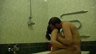 Warm intercourse in the bathroom