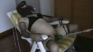 Japanese fuckslut violated in bondage sex chair tied up getting off