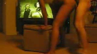 White dude shag his black slut on couch