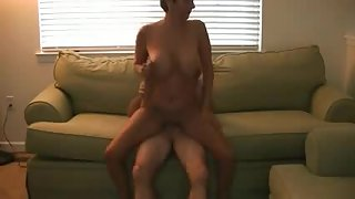 Big tit granny on couch getting pussy filled