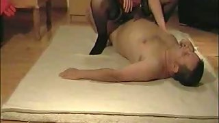 Splendid mom in finest undergarments porking spouse on floor on top and doggy