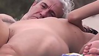 Fingerblasted and caressed at a naturist beach